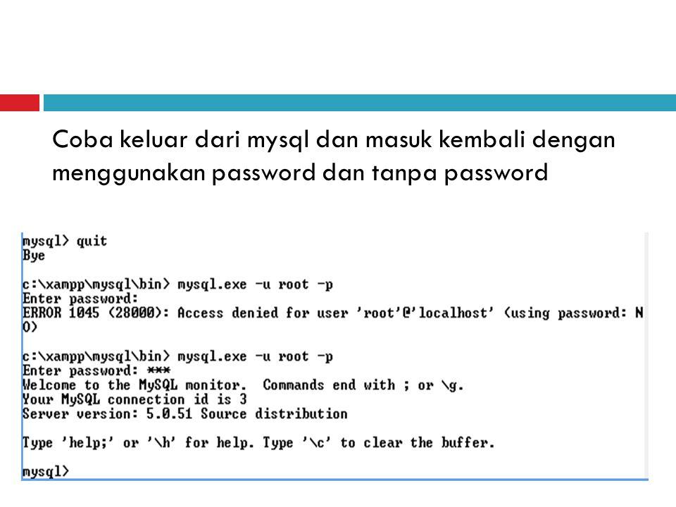 Coba keluar dari mysql dan masuk kembali dengan menggunakan password dan tanpa password