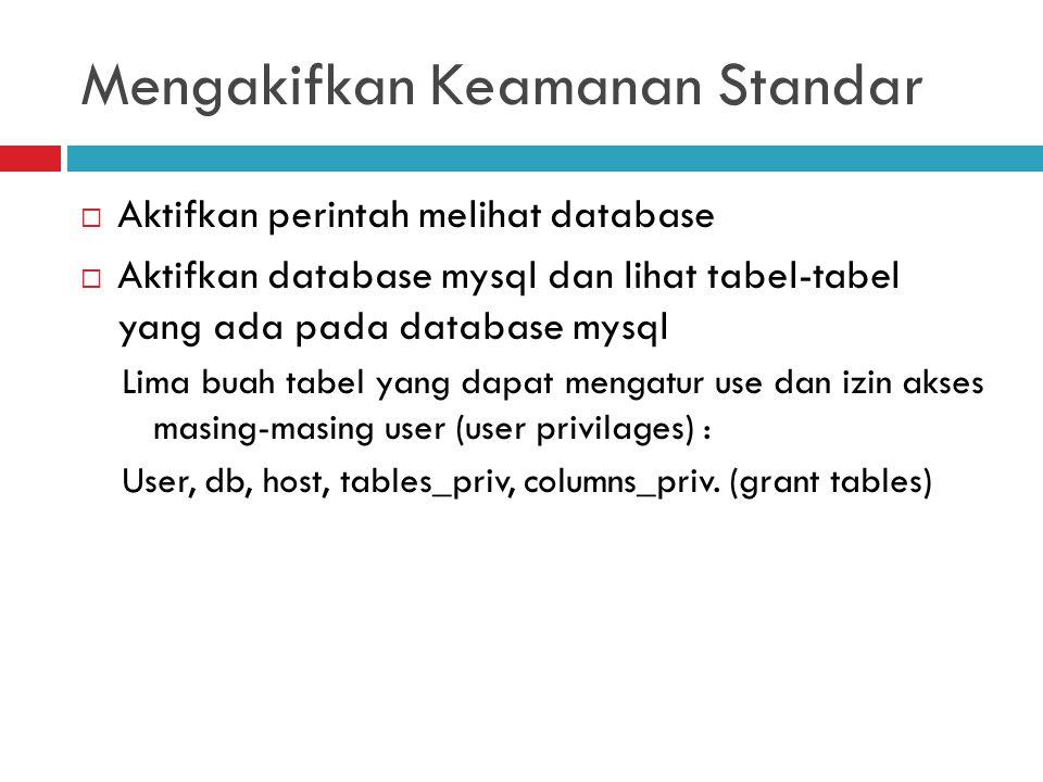 Mengakifkan Keamanan Standar  Aktifkan perintah melihat database  Aktifkan database mysql dan lihat tabel-tabel yang ada pada database mysql Lima bu