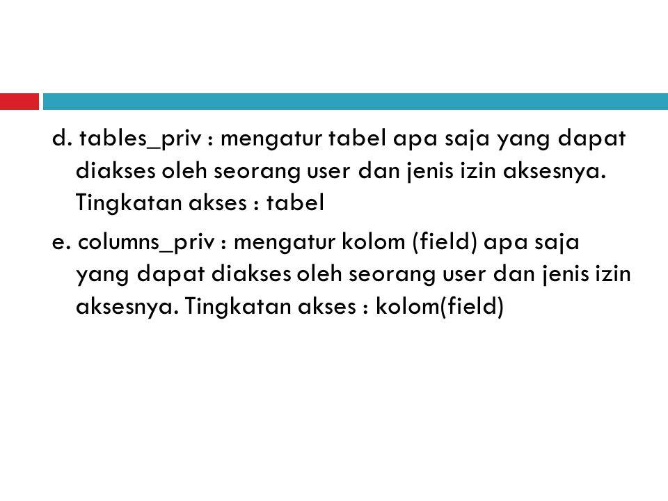 d. tables_priv : mengatur tabel apa saja yang dapat diakses oleh seorang user dan jenis izin aksesnya. Tingkatan akses : tabel e. columns_priv : menga