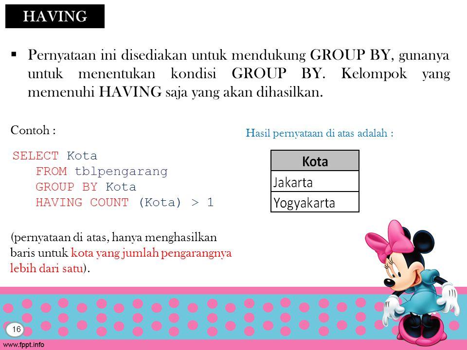 16 HAVING  Pernyataan ini disediakan untuk mendukung GROUP BY, gunanya untuk menentukan kondisi GROUP BY.