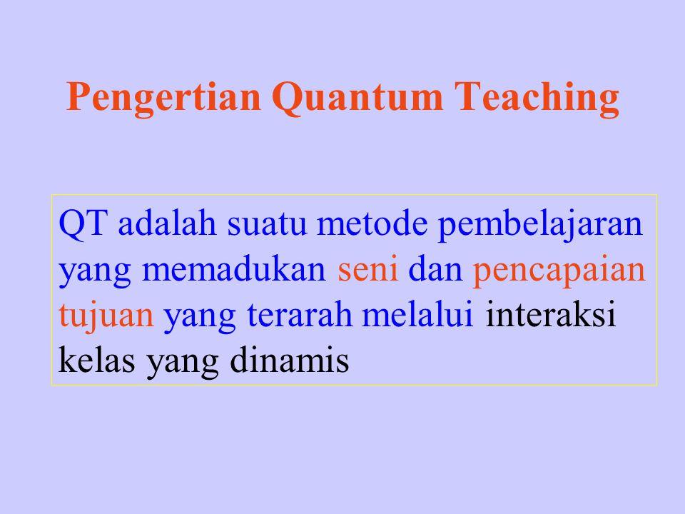Pengertian Quantum Teaching QT adalah suatu metode pembelajaran yang memadukan seni dan pencapaian tujuan yang terarah melalui interaksi kelas yang di