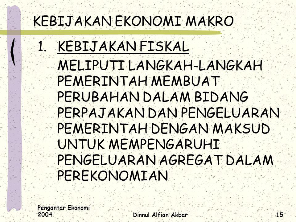 Pengantar Ekonomi 2004Dinnul Alfian Akbar15 KEBIJAKAN EKONOMI MAKRO 1.KEBIJAKAN FISKAL MELIPUTI LANGKAH-LANGKAH PEMERINTAH MEMBUAT PERUBAHAN DALAM BID