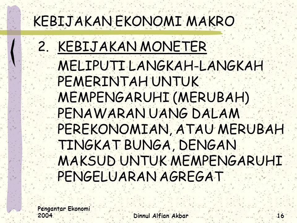 Pengantar Ekonomi 2004Dinnul Alfian Akbar16 KEBIJAKAN EKONOMI MAKRO 2.KEBIJAKAN MONETER MELIPUTI LANGKAH-LANGKAH PEMERINTAH UNTUK MEMPENGARUHI (MERUBA