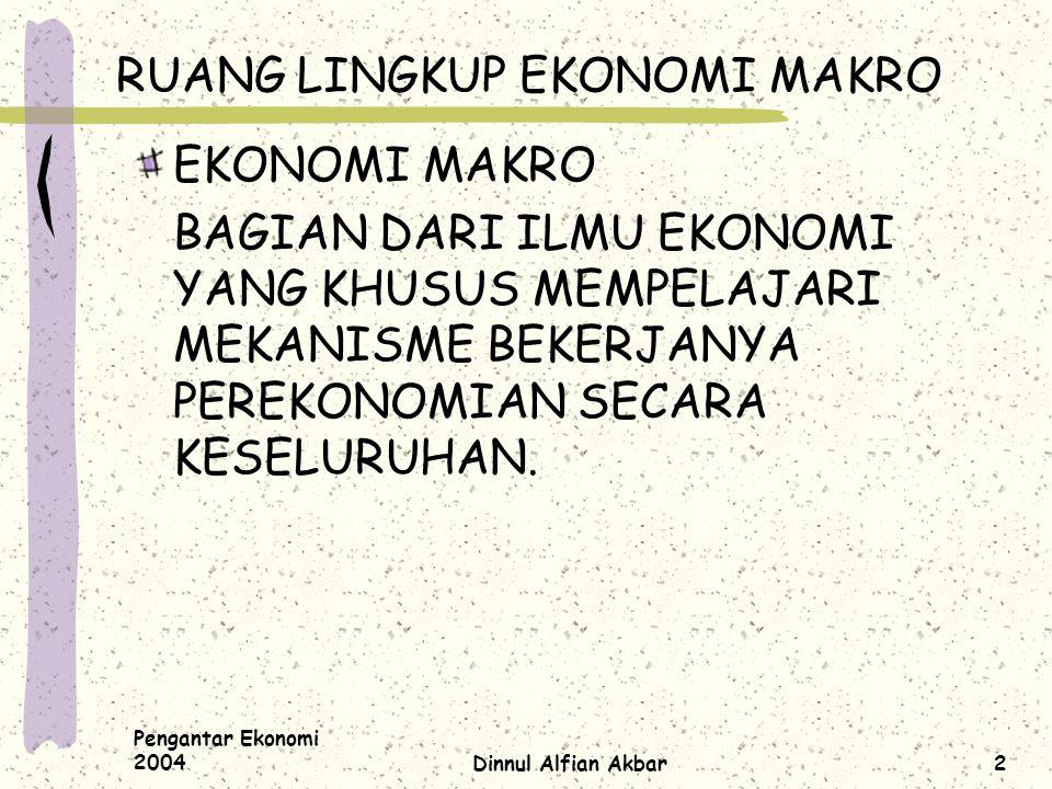 Pengantar Ekonomi 2004Dinnul Alfian Akbar2 RUANG LINGKUP EKONOMI MAKRO EKONOMI MAKRO BAGIAN DARI ILMU EKONOMI YANG KHUSUS MEMPELAJARI MEKANISME BEKERJ