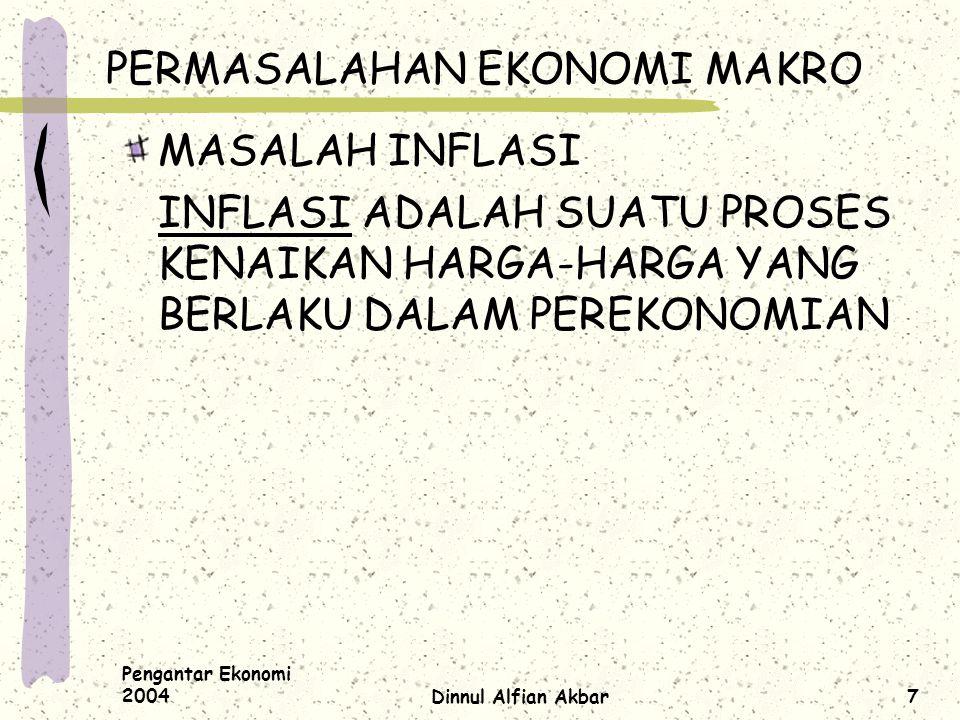 Pengantar Ekonomi 2004Dinnul Alfian Akbar7 PERMASALAHAN EKONOMI MAKRO MASALAH INFLASI INFLASI ADALAH SUATU PROSES KENAIKAN HARGA-HARGA YANG BERLAKU DA