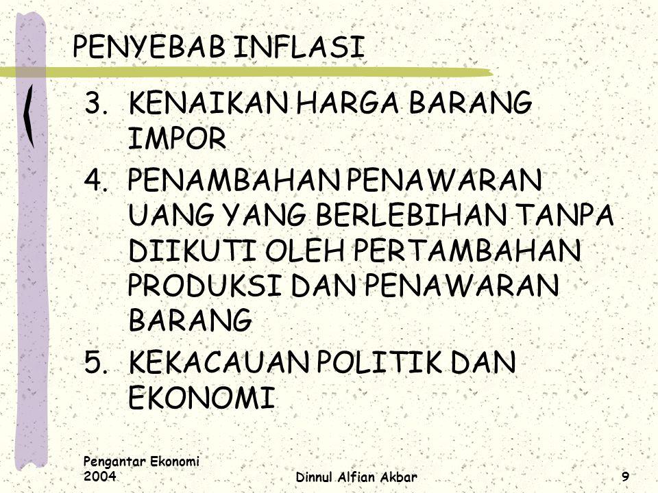 Pengantar Ekonomi 2004Dinnul Alfian Akbar9 PENYEBAB INFLASI 3.KENAIKAN HARGA BARANG IMPOR 4.PENAMBAHAN PENAWARAN UANG YANG BERLEBIHAN TANPA DIIKUTI OL