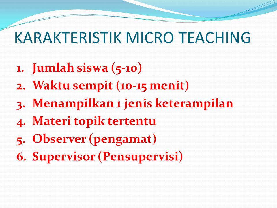 KARAKTERISTIK MICRO TEACHING 1.Jumlah siswa (5-10) 2.