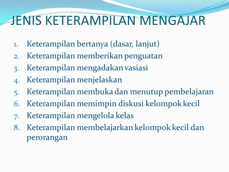 JENIS KETERAMPILAN MENGAJAR 1.Keterampilan bertanya (dasar, lanjut) 2.