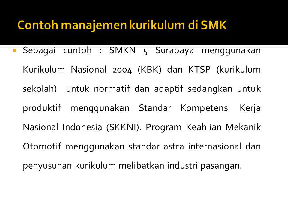  Sebagai contoh : SMKN 5 Surabaya menggunakan Kurikulum Nasional 2004 (KBK) dan KTSP (kurikulum sekolah) untuk normatif dan adaptif sedangkan untuk p