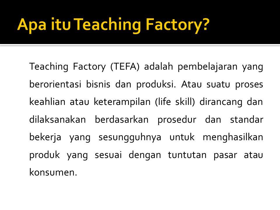 Teaching Factory (TEFA) adalah pembelajaran yang berorientasi bisnis dan produksi. Atau suatu proses keahlian atau keterampilan (life skill) dirancang