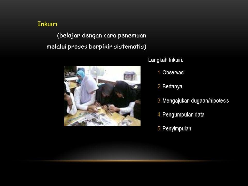 Langkah Inkuiri: 1.Observasi 2.Bertanya 3.Mengajukan dugaan/hipotesis 4.Pengumpulan data 5.Penyimpulan Inkuiri (belajar dengan cara penemuan melalui proses berpikir sistematis)