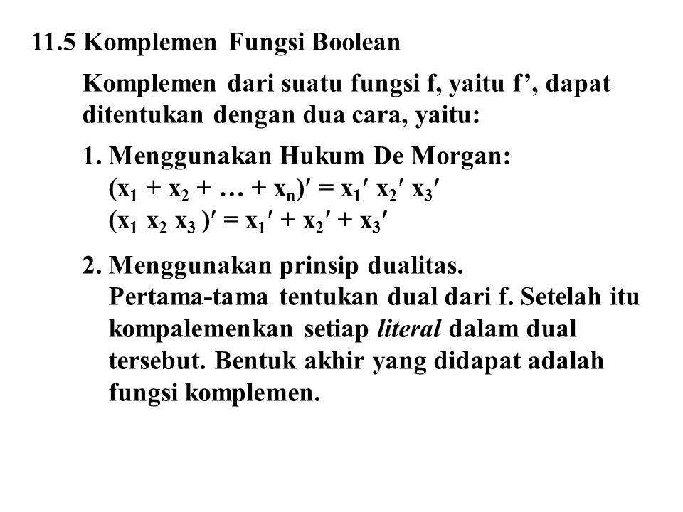 11.5 Komplemen Fungsi Boolean Komplemen dari suatu fungsi f, yaitu f', dapat ditentukan dengan dua cara, yaitu: 1. Menggunakan Hukum De Morgan: (x 1 +