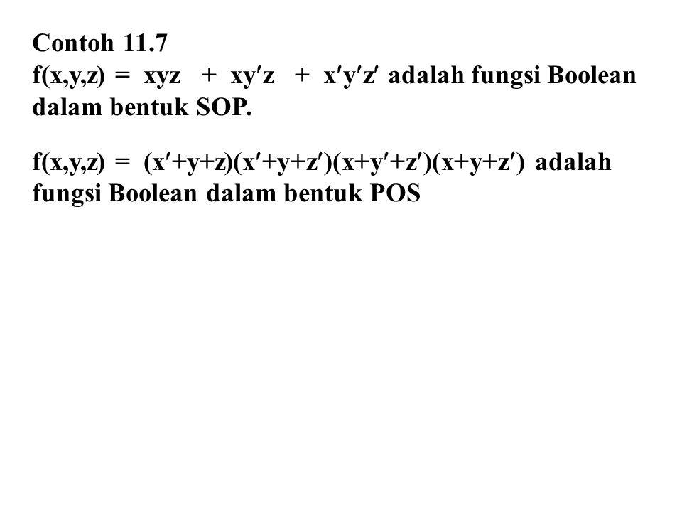 Contoh 11.7 f(x,y,z) = xyz + xyz + xyz adalah fungsi Boolean dalam bentuk SOP. f(x,y,z) = (x+y+z)(x+y+z)(x+y+z)(x+y+z) adalah fungsi Boolean dalam ben