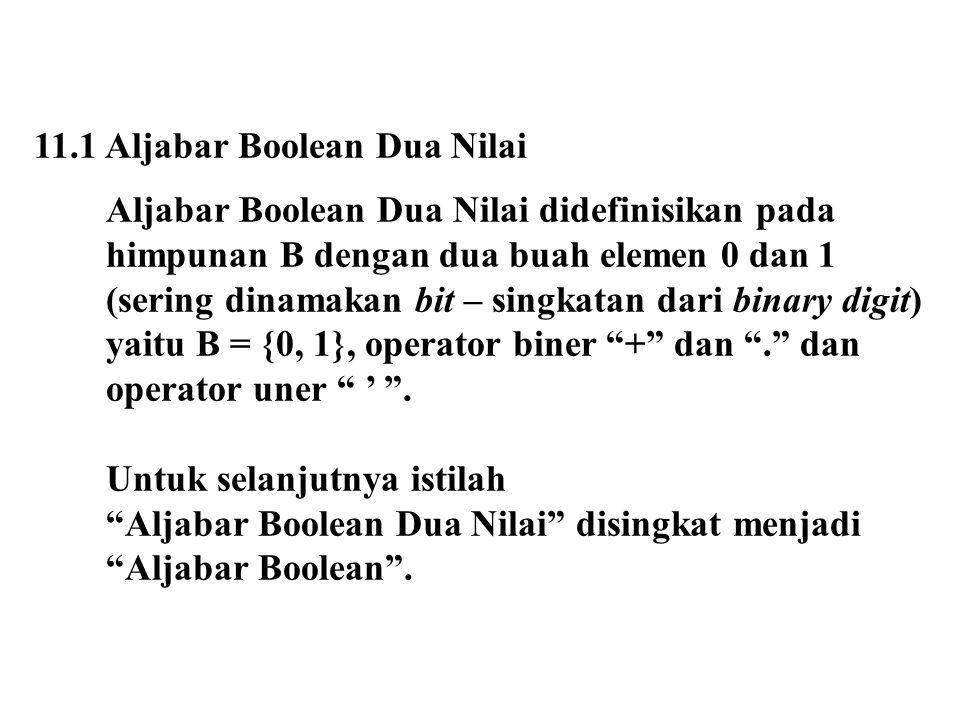 11.1 Aljabar Boolean Dua Nilai Aljabar Boolean Dua Nilai didefinisikan pada himpunan B dengan dua buah elemen 0 dan 1 (sering dinamakan bit – singkata