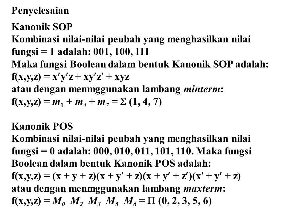 Penyelesaian Kanonik SOP Kombinasi nilai-nilai peubah yang menghasilkan nilai fungsi = 1 adalah: 001, 100, 111 Maka fungsi Boolean dalam bentuk Kanoni