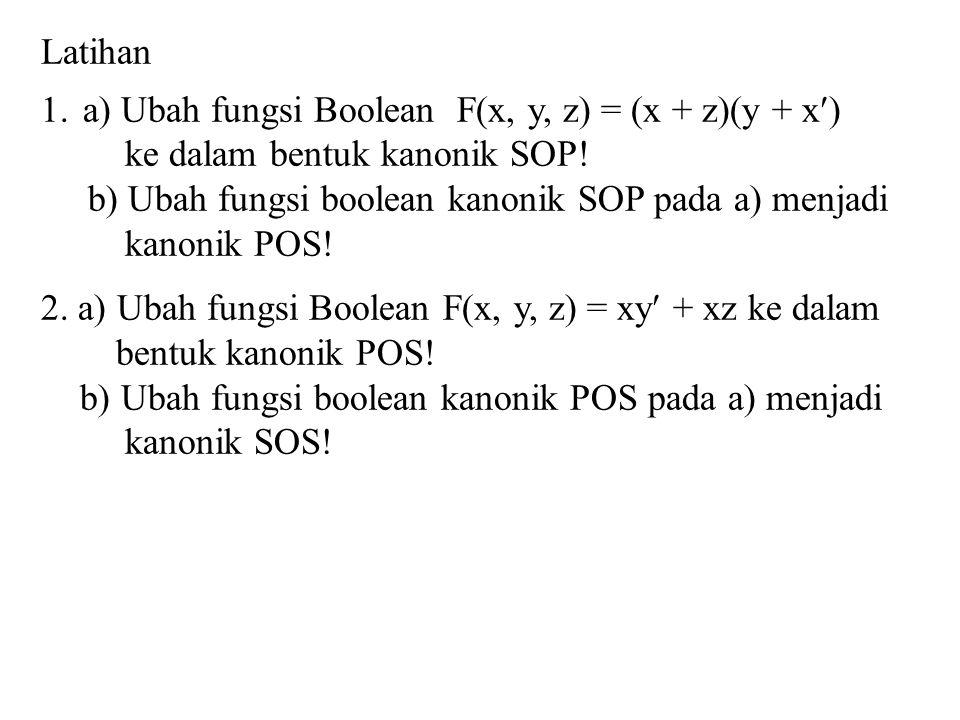 Latihan 1.a) Ubah fungsi Boolean F(x, y, z) = (x + z)(y + x) ke dalam bentuk kanonik SOP! b) Ubah fungsi boolean kanonik SOP pada a) menjadi kanonik P