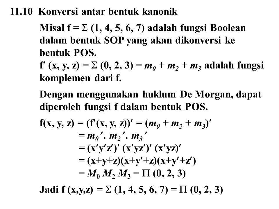 11.10 Konversi antar bentuk kanonik Misal f =  (1, 4, 5, 6, 7) adalah fungsi Boolean dalam bentuk SOP yang akan dikonversi ke bentuk POS. f (x, y, z)