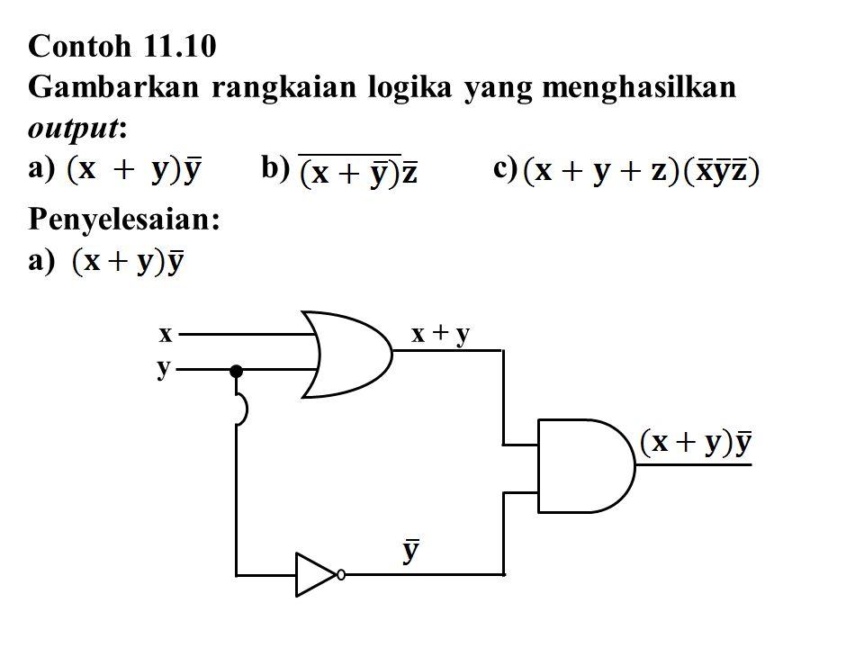 x x + y y Contoh 11.10 Gambarkan rangkaian logika yang menghasilkan output: a) b) c) Penyelesaian: a)