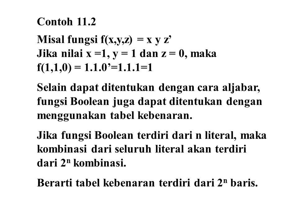 11.8 Membentuk fungsi Boolean dalam bentuk kanonik (SOP dan POS) dari tabel kebenaran Untuk membentuk fungsi Boolean dalam bentuk SOP, tinjau kombinasi nilai-nilai peubah yang memberikan nilai fungsi = 1.