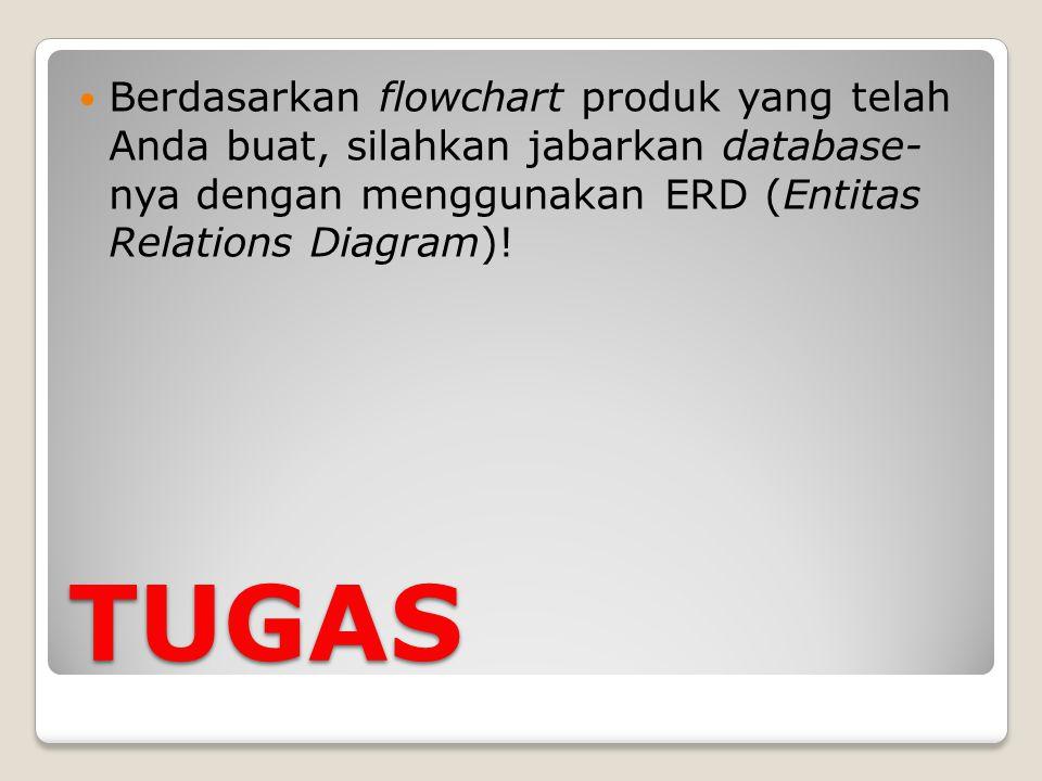 TUGAS Berdasarkan flowchart produk yang telah Anda buat, silahkan jabarkan database- nya dengan menggunakan ERD (Entitas Relations Diagram)!