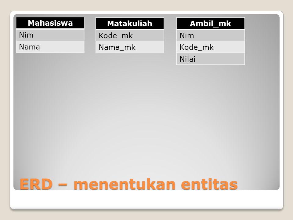ERD – menentukan entitas Mahasiswa Nim Nama Matakuliah Kode_mk Nama_mk Ambil_mk Nim Kode_mk Nilai