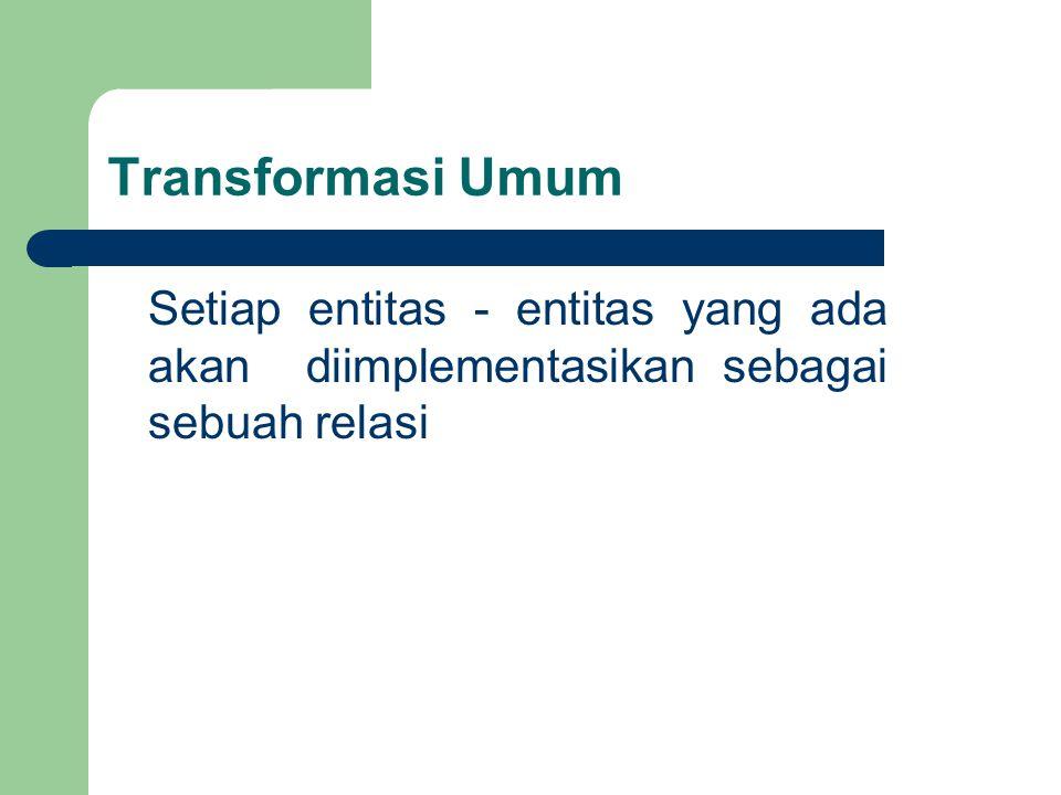 Transformasi Umum Setiap entitas - entitas yang ada akan diimplementasikan sebagai sebuah relasi