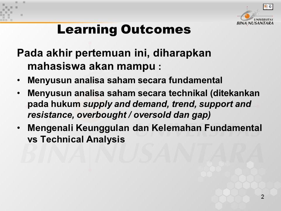 2 Learning Outcomes Pada akhir pertemuan ini, diharapkan mahasiswa akan mampu : Menyusun analisa saham secara fundamental Menyusun analisa saham secar