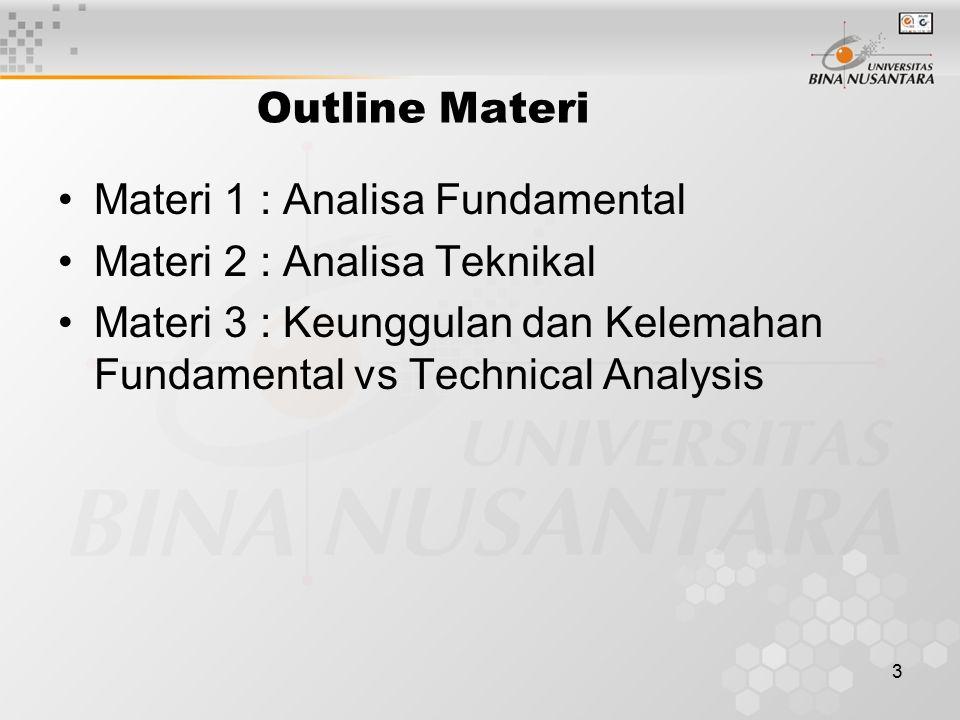 3 Outline Materi Materi 1 : Analisa Fundamental Materi 2 : Analisa Teknikal Materi 3 : Keunggulan dan Kelemahan Fundamental vs Technical Analysis
