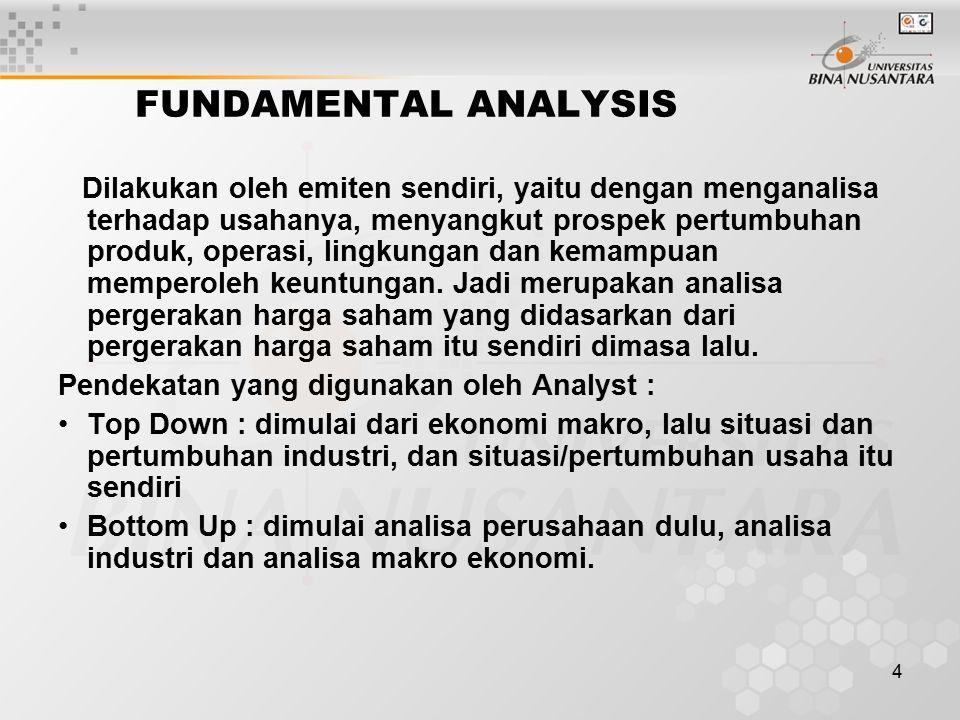 4 FUNDAMENTAL ANALYSIS Dilakukan oleh emiten sendiri, yaitu dengan menganalisa terhadap usahanya, menyangkut prospek pertumbuhan produk, operasi, ling