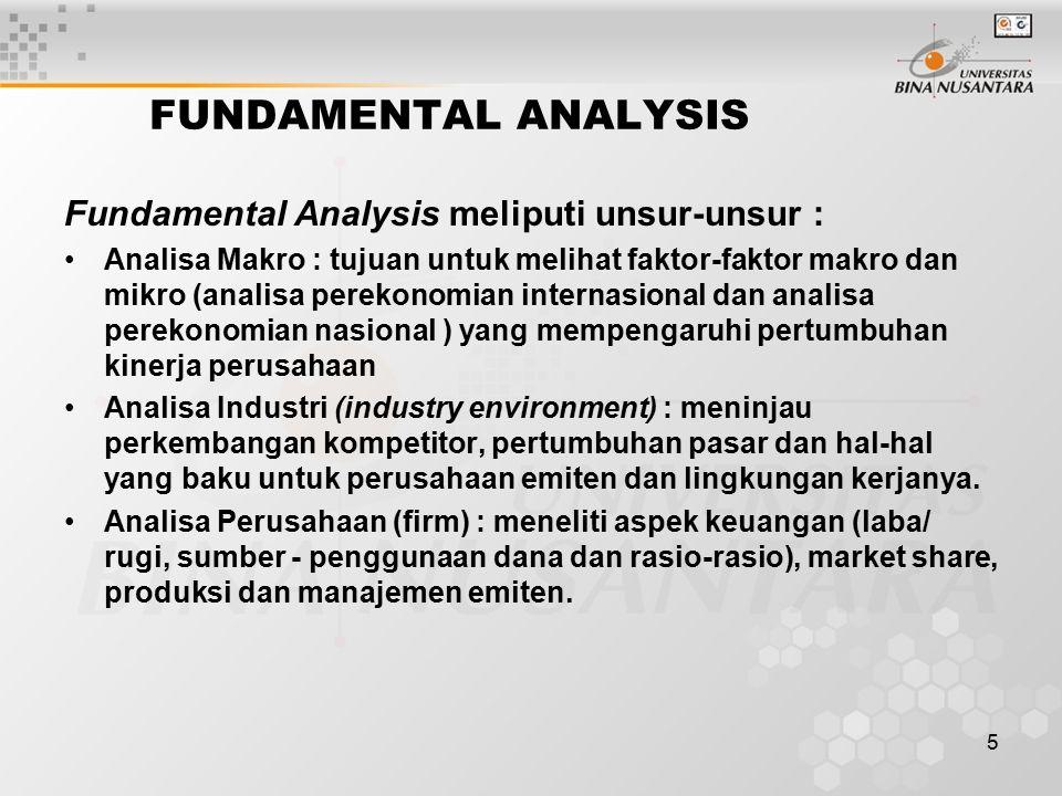 5 FUNDAMENTAL ANALYSIS Fundamental Analysis meliputi unsur-unsur : Analisa Makro : tujuan untuk melihat faktor-faktor makro dan mikro (analisa perekon