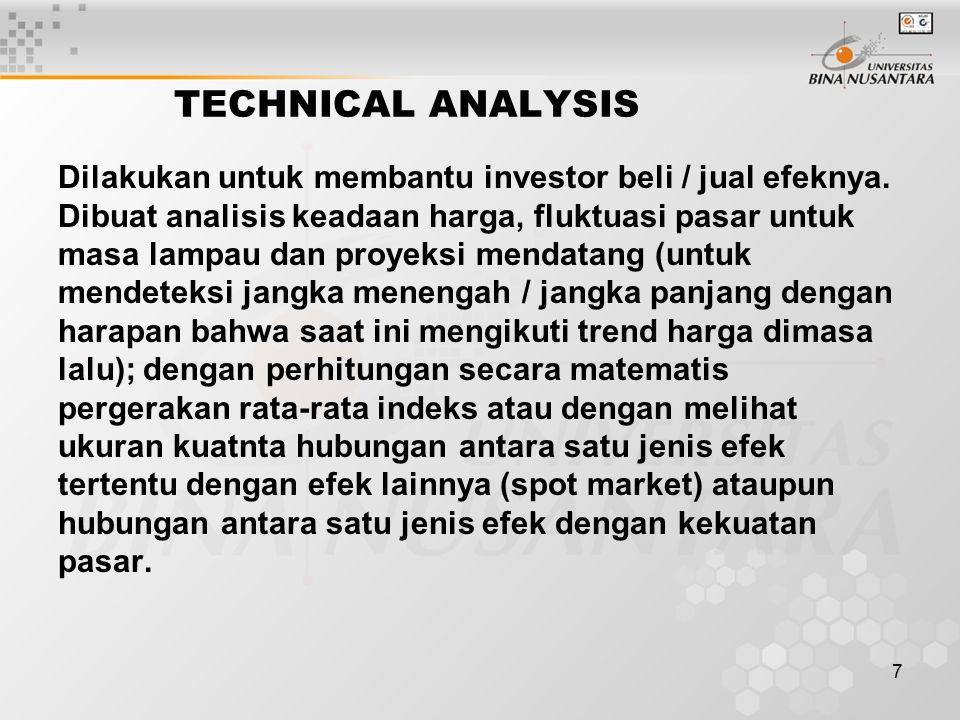 7 TECHNICAL ANALYSIS Dilakukan untuk membantu investor beli / jual efeknya. Dibuat analisis keadaan harga, fluktuasi pasar untuk masa lampau dan proye