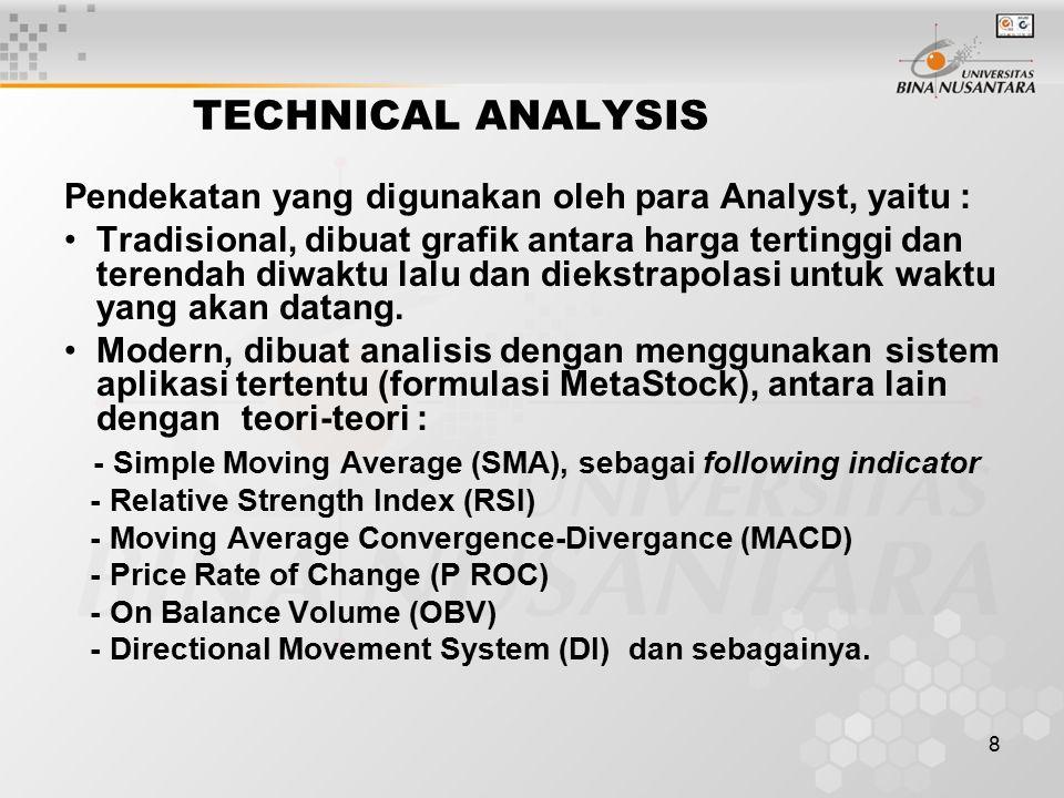 8 TECHNICAL ANALYSIS Pendekatan yang digunakan oleh para Analyst, yaitu : Tradisional, dibuat grafik antara harga tertinggi dan terendah diwaktu lalu