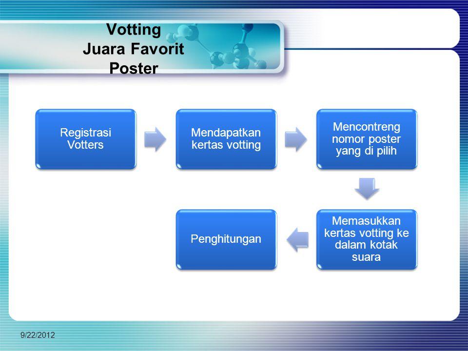 Votting Juara Favorit Poster Registrasi Votters Mendapatkan kertas votting Mencontreng nomor poster yang di pilih Memasukkan kertas votting ke dalam kotak suara Penghitungan 9/22/2012