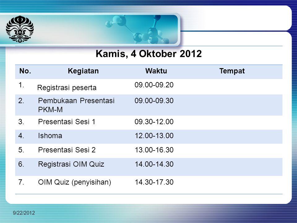 9/22/2012 Kamis, 4 Oktober 2012 No.KegiatanWaktuTempat 1. Registrasi peserta 09.00-09.20 2.Pembukaan Presentasi PKM-M 09.00-09.30 3.Presentasi Sesi 10