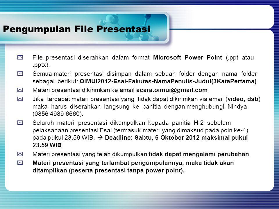 Pengumpulan File Presentasi  File presentasi diserahkan dalam format Microsoft Power Point (.ppt atau.pptx).  Semua materi presentasi disimpan dalam