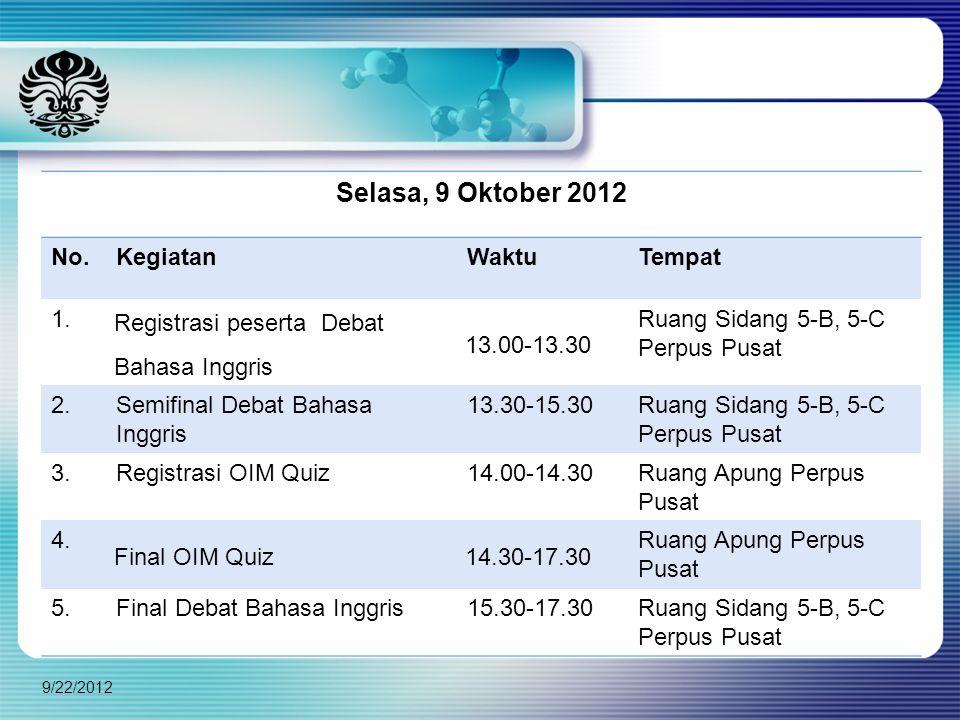 9/22/2012 Selasa, 9 Oktober 2012 No.KegiatanWaktuTempat 1. Registrasi peserta Debat Bahasa Inggris 13.00-13.30 Ruang Sidang 5-B, 5-C Perpus Pusat 2.Se