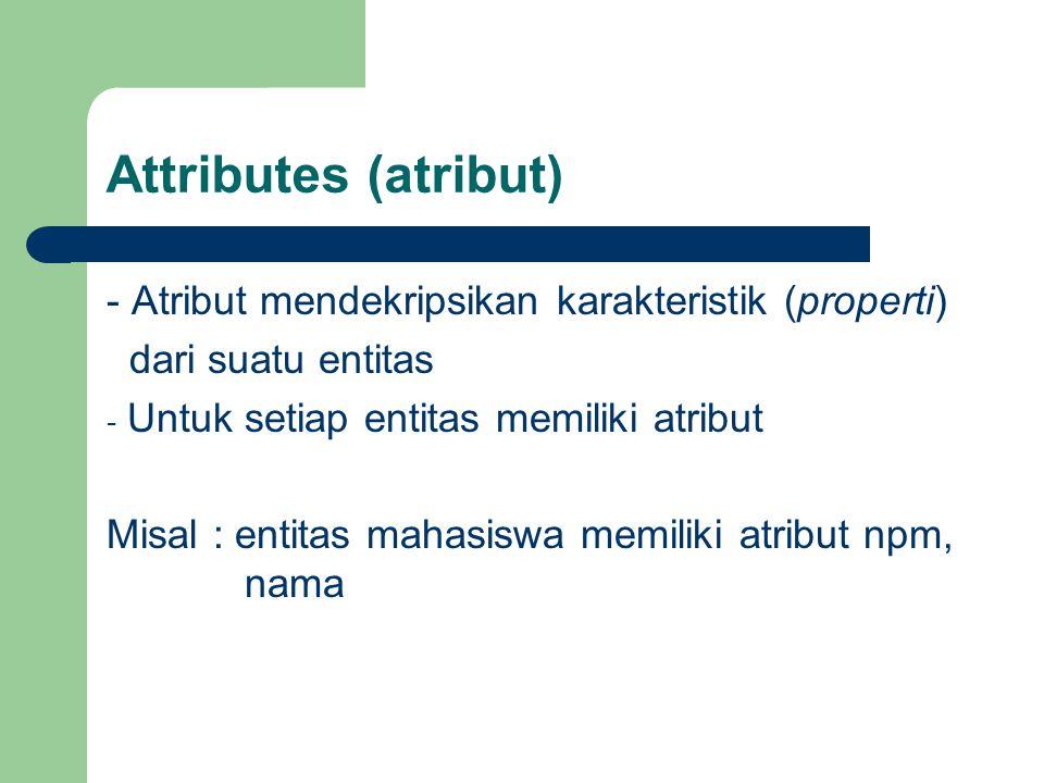 Attributes (atribut) - Atribut mendekripsikan karakteristik (properti) dari suatu entitas - Untuk setiap entitas memiliki atribut Misal : entitas mahasiswa memiliki atribut npm, nama