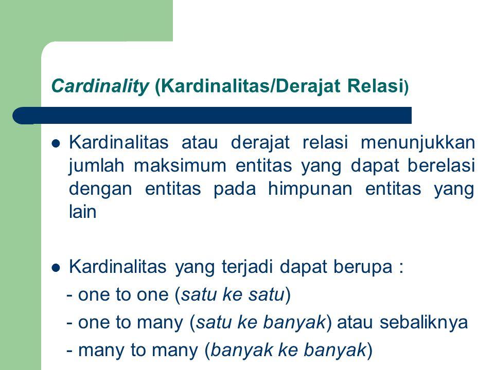 Cardinality (Kardinalitas/Derajat Relasi ) Kardinalitas atau derajat relasi menunjukkan jumlah maksimum entitas yang dapat berelasi dengan entitas pada himpunan entitas yang lain Kardinalitas yang terjadi dapat berupa : - one to one (satu ke satu) - one to many (satu ke banyak) atau sebaliknya - many to many (banyak ke banyak)