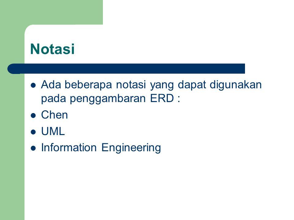 Notasi Ada beberapa notasi yang dapat digunakan pada penggambaran ERD : Chen UML Information Engineering