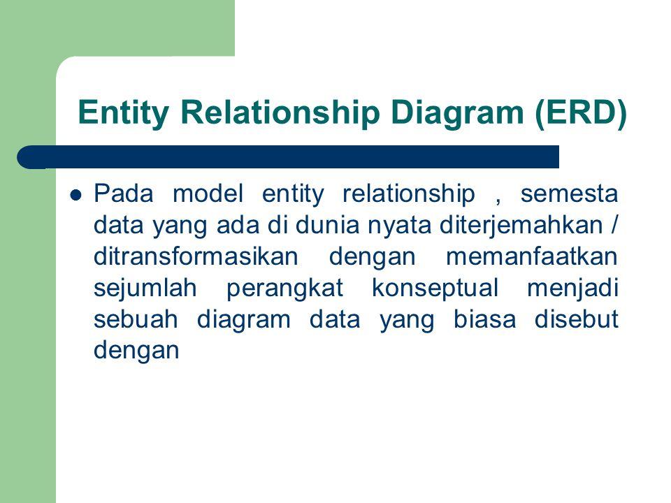 Entity Relationship Diagram (ERD) Pada model entity relationship, semesta data yang ada di dunia nyata diterjemahkan / ditransformasikan dengan memanfaatkan sejumlah perangkat konseptual menjadi sebuah diagram data yang biasa disebut dengan