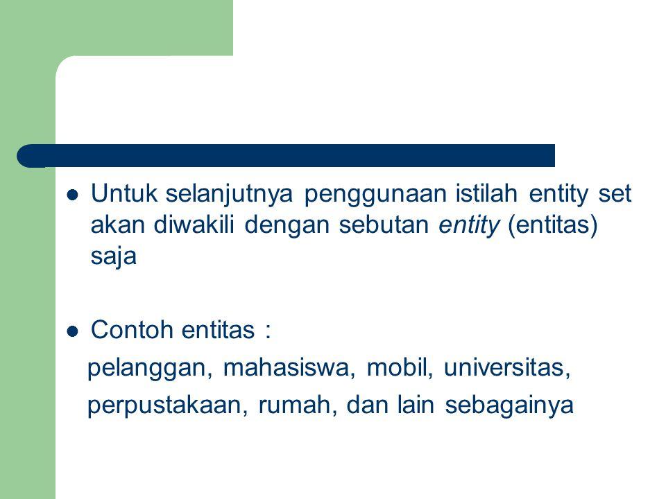 Untuk selanjutnya penggunaan istilah entity set akan diwakili dengan sebutan entity (entitas) saja Contoh entitas : pelanggan, mahasiswa, mobil, unive