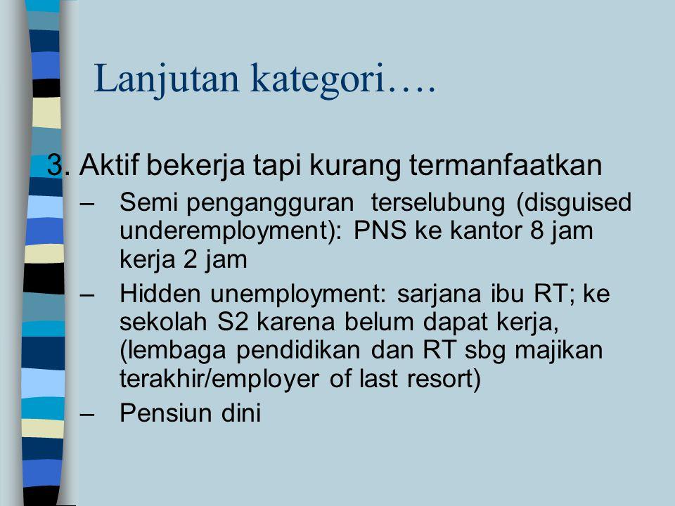 Lanjutan kategori…. 3. Aktif bekerja tapi kurang termanfaatkan –Semi pengangguran terselubung (disguised underemployment): PNS ke kantor 8 jam kerja 2