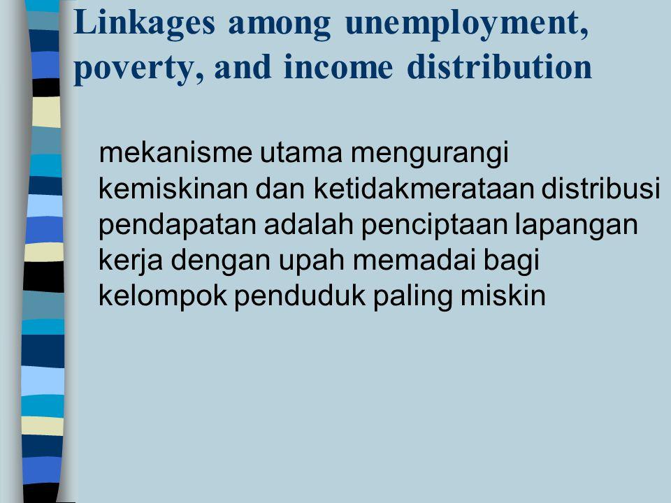 mekanisme utama mengurangi kemiskinan dan ketidakmerataan distribusi pendapatan adalah penciptaan lapangan kerja dengan upah memadai bagi kelompok penduduk paling miskin Linkages among unemployment, poverty, and income distribution