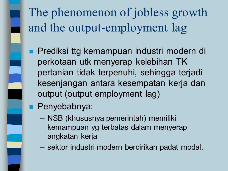 The phenomenon of jobless growth and the output-employment lag n Prediksi ttg kemampuan industri modern di perkotaan utk menyerap kelebihan TK pertani