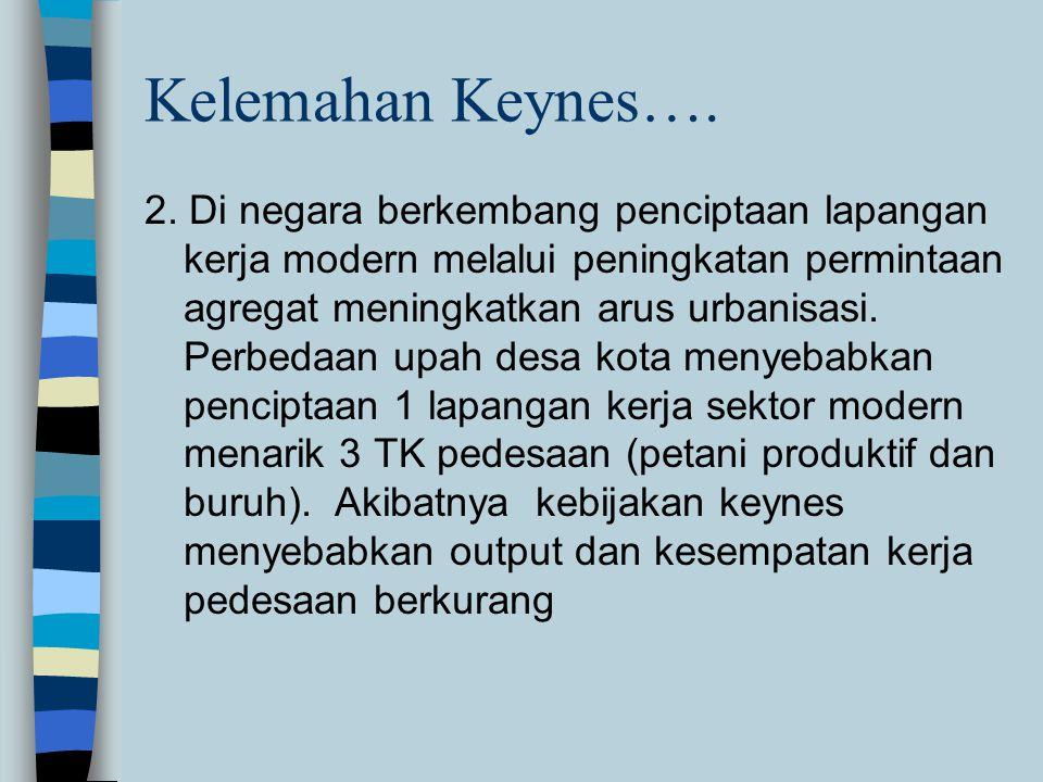 Kelemahan Keynes…. 2. Di negara berkembang penciptaan lapangan kerja modern melalui peningkatan permintaan agregat meningkatkan arus urbanisasi. Perbe