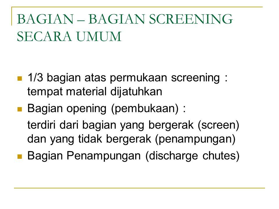 BAGIAN – BAGIAN SCREENING SECARA UMUM 1/3 bagian atas permukaan screening : tempat material dijatuhkan Bagian opening (pembukaan) : terdiri dari bagia