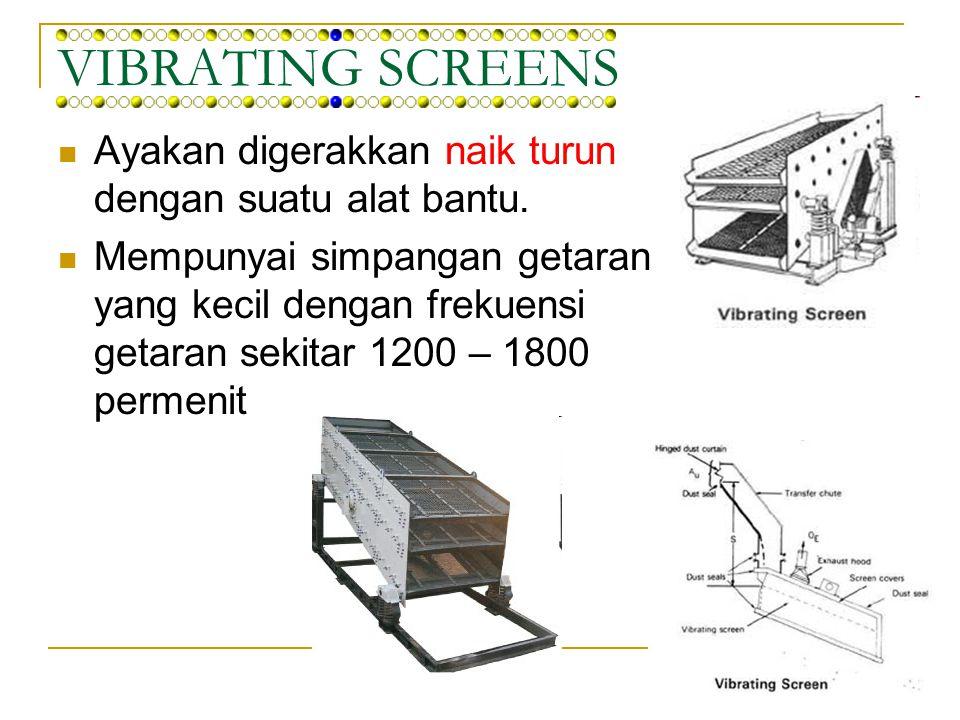 REVOLVING SCREENS / TROMMEL Bentuknya silinder atau kerucut yang miring terhadap horizontal Kemiringan ayakan untuk memudahkan pengeluaran partikel kasar.