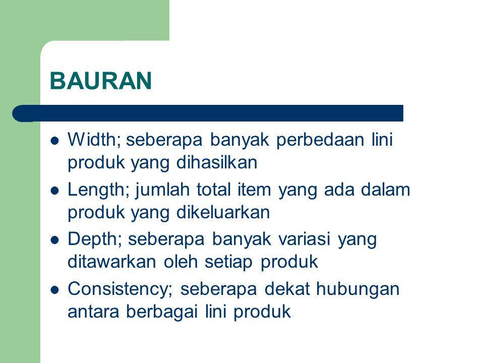 BAURAN Width; seberapa banyak perbedaan lini produk yang dihasilkan Length; jumlah total item yang ada dalam produk yang dikeluarkan Depth; seberapa b