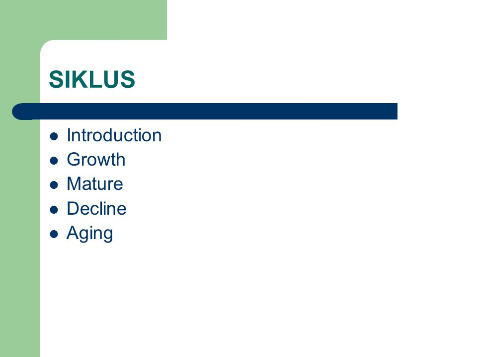 SIKLUS Introduction Growth Mature Decline Aging