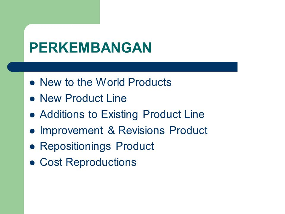 TINGKATAN Core Product Generic / Basic Product Expexted Product Augmented Product Potential Product